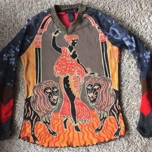 CUSTO BARCELONA knit sheer lion v neck top